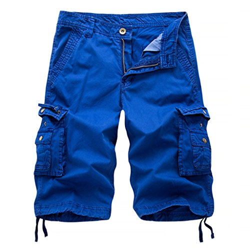 LOCALMODE Men's Casual Cotton Multi Pocket Twill Cargo Shorts Blue 36 by LOCALMODE (Image #1)