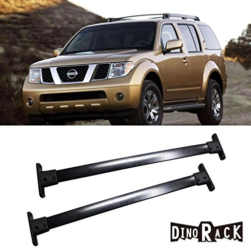(CUSTOM DINORACK 2pcs New OE Style Black Aftermarket Aircraft Aluminum Aftermarket Roof Rack Cross Bar Luggage Cargo Carrier Rail + Mounting Hardwares Fit 2005-2012 Nissan Pathfinder)