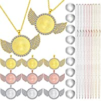 27 Pieces Rhinestone Wing Bezel Pendant Trays with Glass Cabochons and Lobster Clasps Chains Set, 3 Colors for DIY Jewelry Crafts Making Supplies