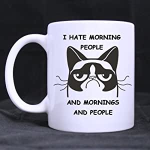 Amazon Com Funny Cat I Hate Morning People And Mornings