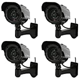 NONMON Solar Powered Simulated Dummy Surveillance Security Cameras Fake Bullet CCTV for Indoor Outdoor - 4 Pack, Black