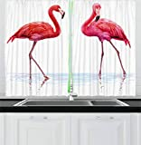 Ambesonne Animal Kitchen Curtains, Two Hand Drawn Flamingos in Pink Colors on Seaside Tropical Wildlife Artwork, Window Drapes 2 Panel Set for Kitchen Cafe, 55 W X 39 L Inches, Orange Lavander