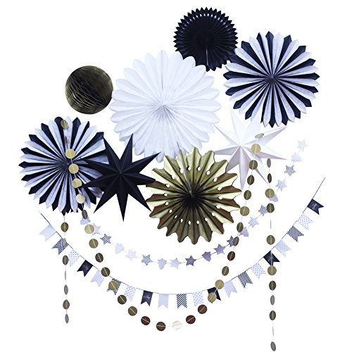 SUNBEAUTY Black White Gold Tissue Paper Fans Paper Garlands Christmas Decorations Kit, 10 Pieces (Black White Gold)