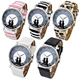 Top Plaza Womens Girls Fashion Cute Cat Pattern Round Dial Quartz Analog Watch 3ATM Waterproof-Set of 5