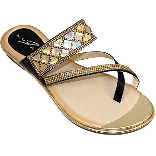 Sapphire Boutique by Sapphire Zafiro Boutique @ jlh910 Aisha Plantilla Acolchada Tira Cruzada Zapatos Sin Talón Piel Sintética Gema Sandalias Negro