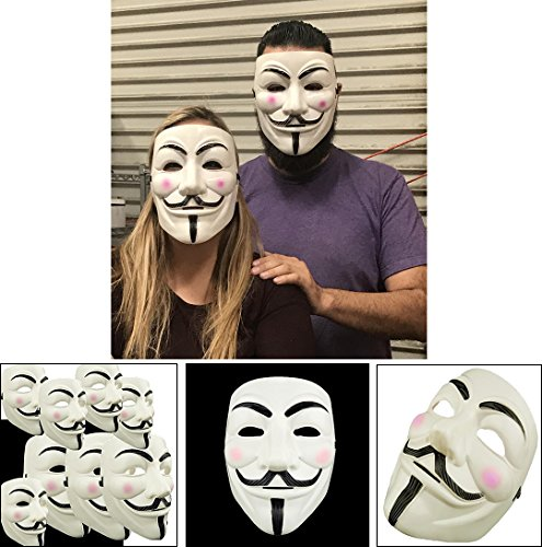 Adorox (5 Masks) V for Vendetta White Costume Face Mask Anonymous Guy Fawkes