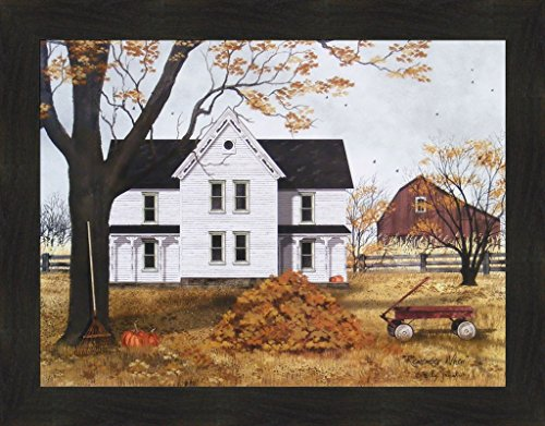 Remember When by Billy Jacobs 22x28 Farm House Barn Red Wagon Leaf Pile Raking Leaves Autumn Fall Framed Print Picture