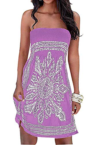 Chicgal Women's Coverup Dress Bohemian Beach Dress Strapless Floral Print Cover-up Dresses (Light Purple 3XL)
