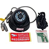 VideoSecu Day Night Vision Outdoor CCD CCTV Security Dome Camera Vandal-proof 3.6mm Wide View Angle Lens 480TVL with Bonus Power Supply 1Z0