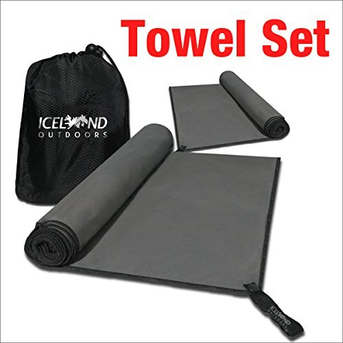 Price comparison product image Microfibre Camping Towel Set - Quick Dry Towels by Iceland Outdoors - Best for Travel - Hiking & Backpacking - Large 140cmx80cm, Small 80cmx40cm - Super Absorbent & Odor Protection, Free Carry Bag