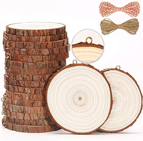 [2020 New] SENMUT Craft Unfinished Natural Wood Slices Christmas Ornament 20 Pcs 3.5-4 Inches Wooden Circles for Arts and DIY Crafts Wood Burning Kit Pre-Installed Tree Slices with Small Eye Screws
