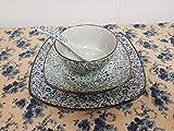 PropOcean Japanese style Light Green with Blue Flower Pattern Porcelain 4-Piece Dinnerware Set,