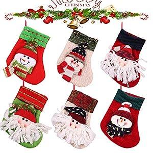 MMTX Calze di Natale Decorazioni Calzini Decor per Camino Set 6 Decorazioni Natalizie Camino da Appendere Candy Sacchetti Regalo per Albero di Natale Festa di Natale Decorazioni 1 spesavip