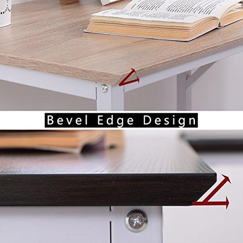 TOPSKY L-Shaped Desk Corner Computer Desk 55'' x 55'' with 24'' Deep Workstation Bevel Edge Design (Walnut+Black Leg) by TOPSKY (Image #7)