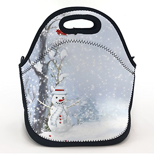 - oFloral Neoprene Lunch Tote Snowman Scarf Buttons Wood Berries Trees Snow Printed Insulated Waterproof Lunch Box Design for Kids Girls Women Large Pack Size 11.5