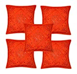 Home Furnishing Decorative Heavy Handmade Embroidered And Mirror Work Indian Cotton Maroon Throw Pillow Cushion Covers 16 x 16 Inches Set Of 5 Pcs (Orange)