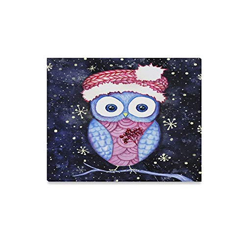 ENEVOTX Wall Art Painting Watercolor and Digital Painting Owl in Santas Hat Prints On Canvas The Picture Landscape Pictures Oil for Home Modern Decoration Print Decor for Living Room ()