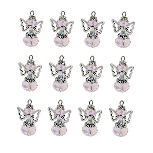(Fenteer 12 Pieces Alloy Filigree Hollow Out Angel Wings Charms Pendant with Crystal Glass Beads Dangle Charm Pendants Jewelry DIY Crafts Bulk - Pink)