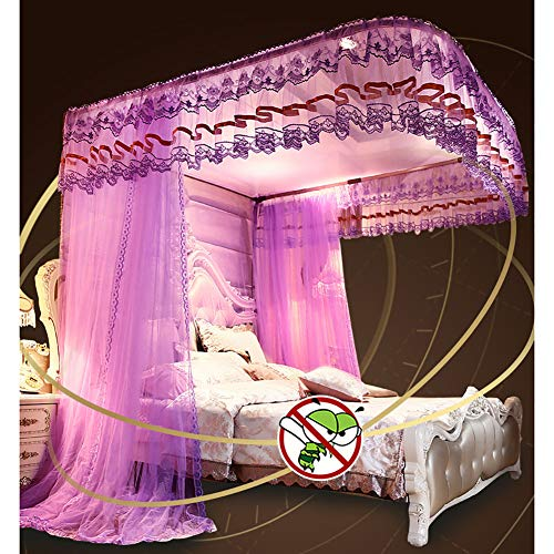 360° Protection Mosquito Nets Bed Canopy Lace Side Princess Net Tent U-Guide Easy Installation Anti-Mosquito Home Decorative,Red,150200CM by LINLIN MOSQUITO NET (Image #5)