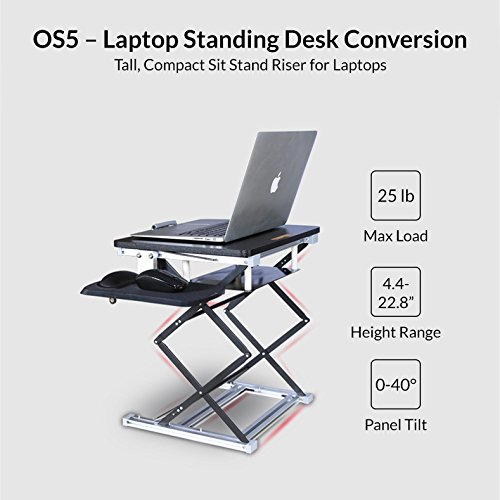 OS5 Ergonomic Laptop Stand & Standing Desk Converter Affordable Sit Stand Up Desktop Riser Conversion Topper Adjustable Height Tilt