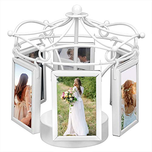 Photo Frame, Digital Photo Frame, Metal Music Photo Frame Rotating Picture Frame Home Photo Studio Decoration for 4.4x7cm Photo