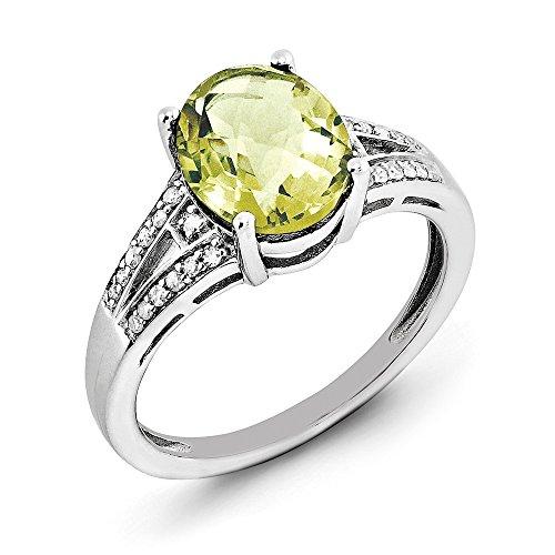 (925 Sterling Silver Oval Cut 2.4CT Lemon Quartz Solitaire Engagement Ring Size 7)