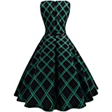 Vintage Floral Dress,Clearance! Women Casual Vintage Floral Bodycon Plaid Sleeveless Evening Party Dress (XXL, Green)