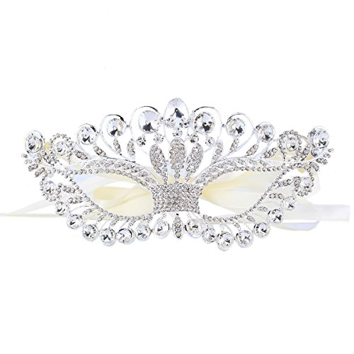 Santfe Womens Rhinestone Crystal Fancy Masquerade Eye Mask For Halloween Party (style4)