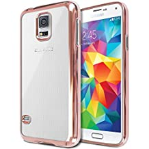 Galaxy S5 Case, Jwest S5 Neo Case Slim Fit Hybrid Soft TPU Scratch Resistant Chrome Bumper Clear Case with HD Screen Protector for Samsung Galaxy S5/S5 Neo - Rose Gold
