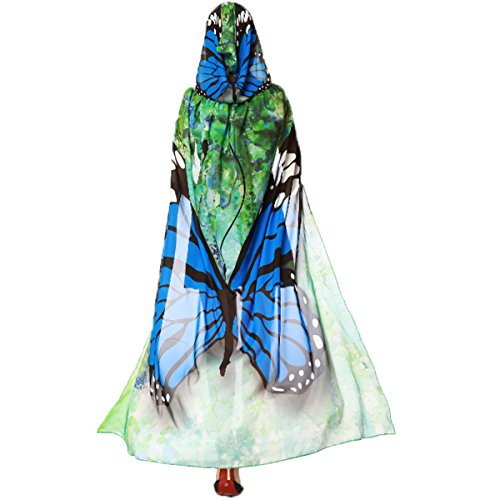 [Women's Novelty Butterfly Wing Print Hooded Capes Chiffon Cloak Costume Accessory Party Prop Cosplay (Blue Butterfly)] (Butterfly Halloween Costumes Ideas)