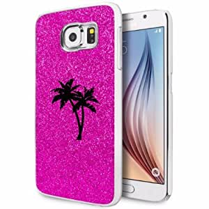 Samsung Galaxy S6 Edge Glitter Bling Hard Case Cover Palm Trees (Hot Pink)