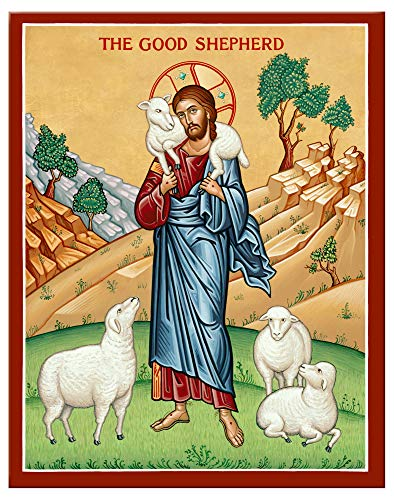 Monastery Icons Jesus The Good Shepherd Mounted Plaque Icon Reproduction (7.8 x 10)