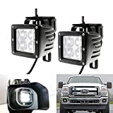 iJDMTOY 40W High Power CREE 4D Optic Projector Dually LED Pod Lights w/ Metal Foglamp Mount Bracket Holders For 1999-2016 Ford F250 F350 F450 Super Duty & 2000-2005 Ford Excursion