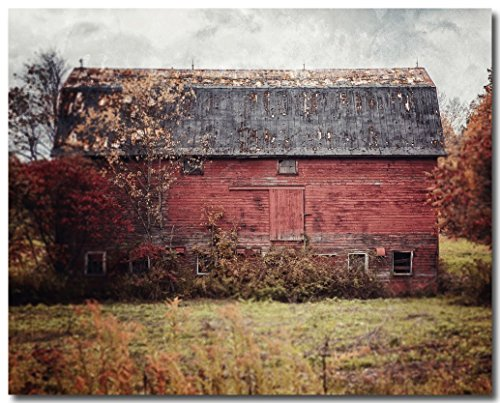 Rustic Wall Decor Barn Landscape - 'Deconstructed' - Red Country Barn Art Photo - Western Pennsylvania Autumn Home Decor Print in Red and Grey. by Lisa Russo Fine Art Photography