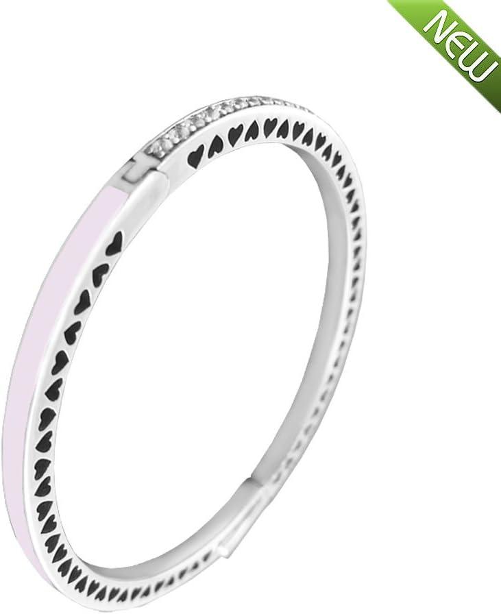Freie CZ authentisches 925 Sterlingsilber-Armband-Armband DIY Schmucksachen PANDOCCI 2017 Fr/ühlings-Prinzessin-hellrosa strahlendes Herz mit Emaille u