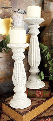 Deco 79 Wood Candle Holder, White, 18 by 15 by 12-Inch by Deco 79 (Image #2)