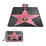 YCHY Hollywood Walk Fame Symbol Celebrity Entertainment Culture Picnic Mat Sandproof and Waterproof Outdoor Picnic Blanket for Camping Hiking Beach Grass Travel