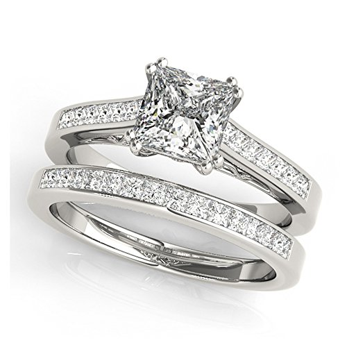 14K White Gold Unique Wedding Diamond Bridal Set Style MT50945