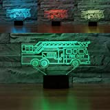 3D Fire Truck Car Night Light Touch Switch Decor Table Desk Optical Illusion Lamps 7 Color Changing Lights LED Table Lamp Xmas Home Love Brithday Children Kids Decor Toy Gift
