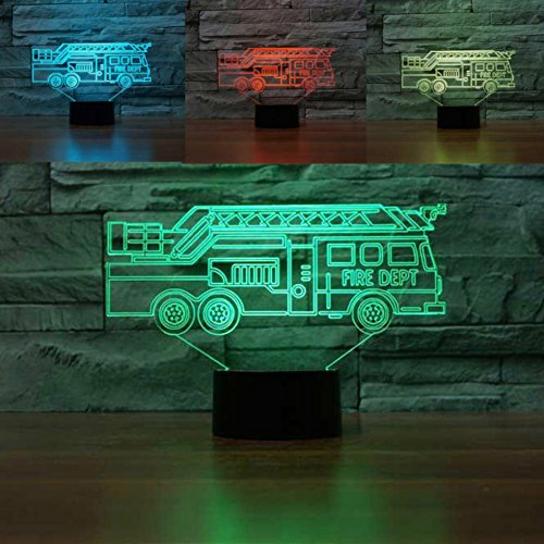 3D Fire Truck Car Night Light Touch Switch Decor Table Desk Optical Illusion Lamps 7 Color Changing Lights LED Table Lamp Xmas Home Love Brithday Children Kids Decor Toy ()