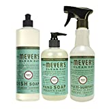 Mrs Meyers Basil 3ct Kitchen Set (Dish Soap / Hand Soap / Multi Surface Cleaner)