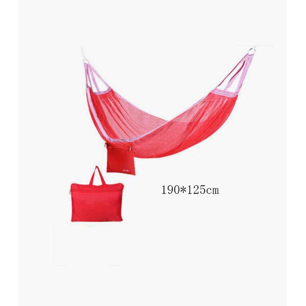 Hängematte Outdoor Hängematte Camping Camping Schaukel Hängematte Bergsteigen Hängematte rote Mesh Polyester Hängematte tragbare Hängematte (Lagerbeutel  1), (190  125cm)