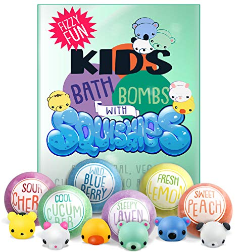 Bath Believe (Kids Bath Bombs with Surprise SQUISHY Toys inside, Gender Neutral for Boys & Girls, In Gift Box, Perfect for Easter, All Natural, Handmade with Essential Oils- 6 XL Bath Fizzies)