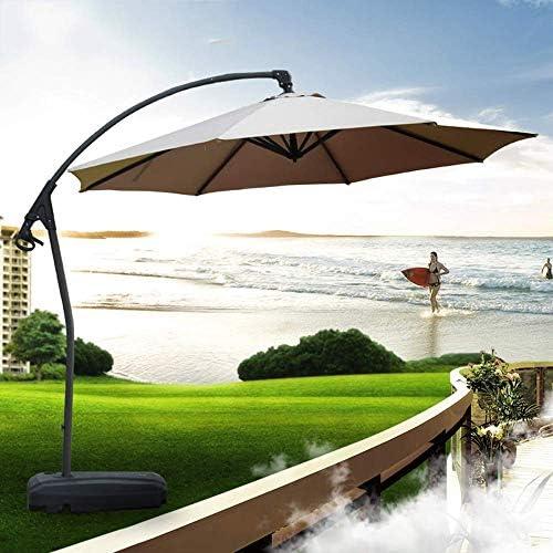 3mバナナガーデンカンチレバーハンギングパラソル角度調整可能、メインポールを厚く、クランク付き、屋外、ガーデン、パティオ用の防水シェード生地