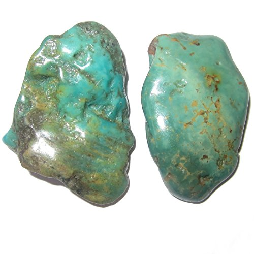 SatinCrystals Turquoise Polished Stone Premium Pair of Crystals Genuine Old Kingman Mine Arizona Made in USA Healing Gems P10 (1.75 Inches)