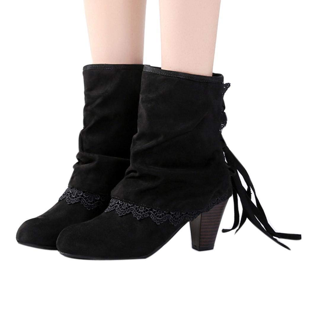 Gyoume Mid Heel Boots Women Calf Boots Tassel Boots Shoes Ladies Round Toe Boots Dress Shoes