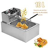 Homgrace Commercial Electric Single Tank Deep Fryer, Professional 10L Countertop Stainless Steel Electric Deep Fryer (10L)