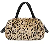 Rumas Women Leopard Shoulder Bag Crossbody Tote Handbag Purse (Brown)