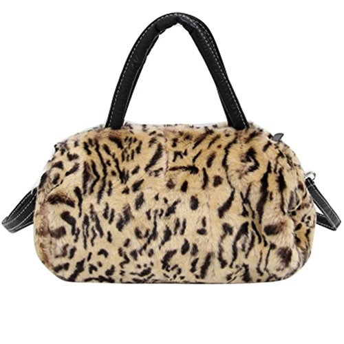 Rumas Women Leopard Shoulder Bag Crossbody Tote Handbag Purse (Brown)