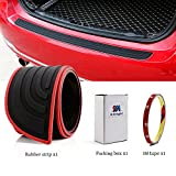 EverBrightt Trunk Rubber Protection Strip Car Rear Bumper Protector Cover with 3M Tape Black + Red Set of 1